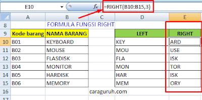 contoh penggunaan fungsi right pada excel
