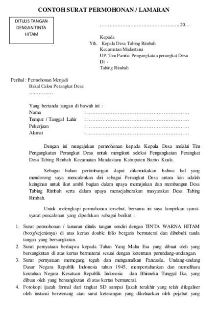 Surat Permohonan Menjadi Perangkat Desa Doc Isplbwiki Net