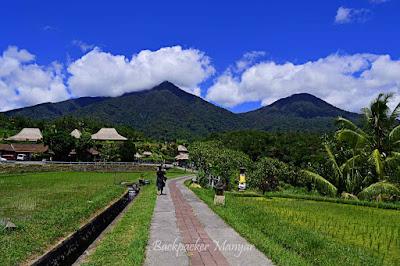 area masuk Jatiluwih Rice Terrace yang berlatar gunung - Backpacker Manyar