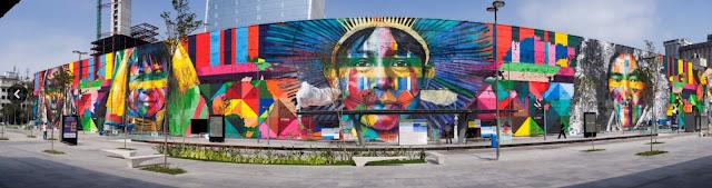 Fresque murale : motif tribus amérindiennes à Miami