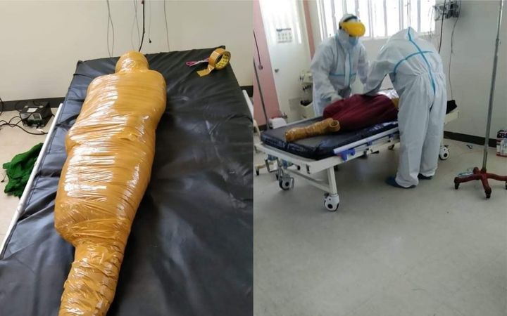 """Vehicular accident victim wrapped like a """"mummy"""""""