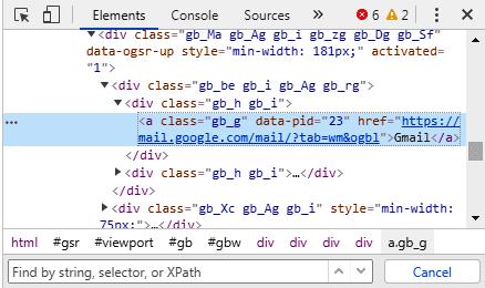 Xpath of link using text method in selenium