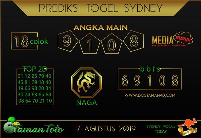 Prediksi Togel SYDNEY TAMAN TOTO 17 AGUSTUS 2019