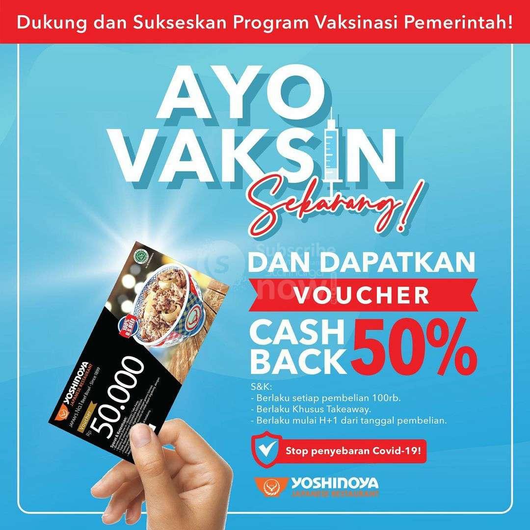 Promo YOSHINOYA CASHBACK VOUCHER 50% untuk Yang Sudah Vaksin