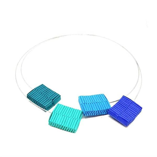 double wire necklace with four colorful blue and green square woven paper beads