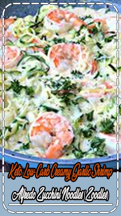Keto Low-Carb Creamy Garlic Shrimp Alfredo Zucchini Noodles (Zoodles) is a quick and easy recipe with video instructions that is perfect for the keto diet and ketosis lifestyles. The shrimp is served grilled or pan seared with parmesan cheese and rich alfredo cream sauce. #Keto #KetoRecipes