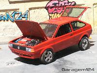 Miniatura artesanal Papel Parana VW Gol arrancada (motor ferrari) 1/24 feito a mão