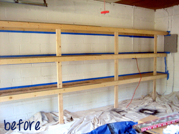 garage shelves-before