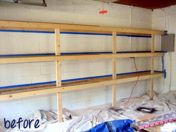 garage shelves-before