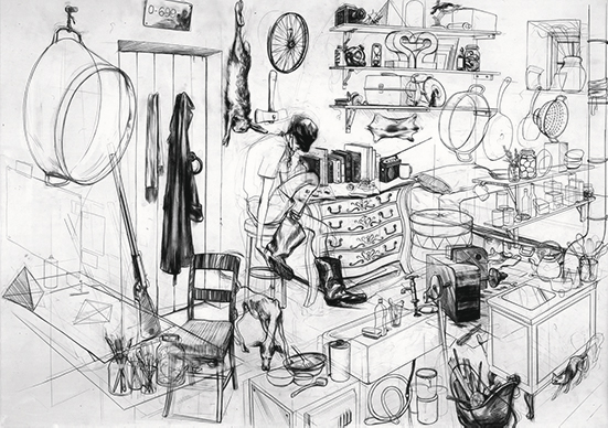 Charles Avery  The Hunters Cabin, 2004 pencil on paper