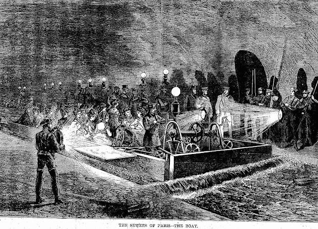 1870 Paris Sewers Tourism, an illustration of slumming