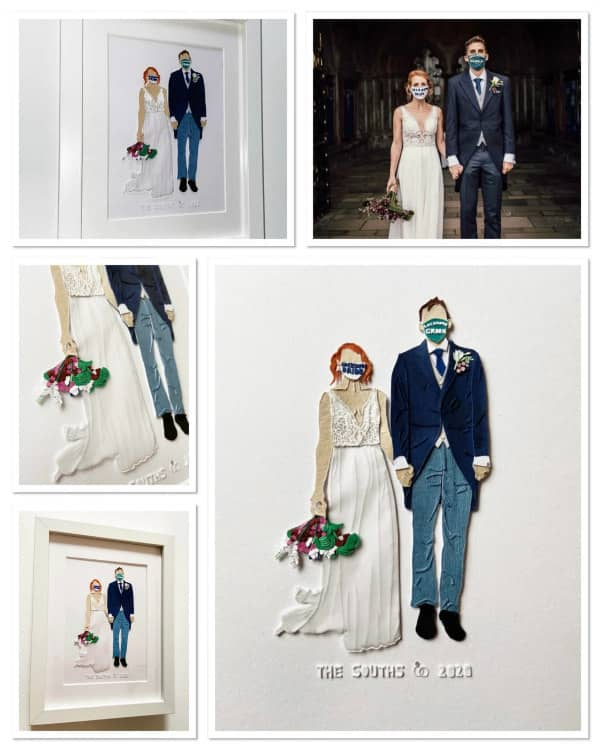 paper art wedding couple wearing face masks
