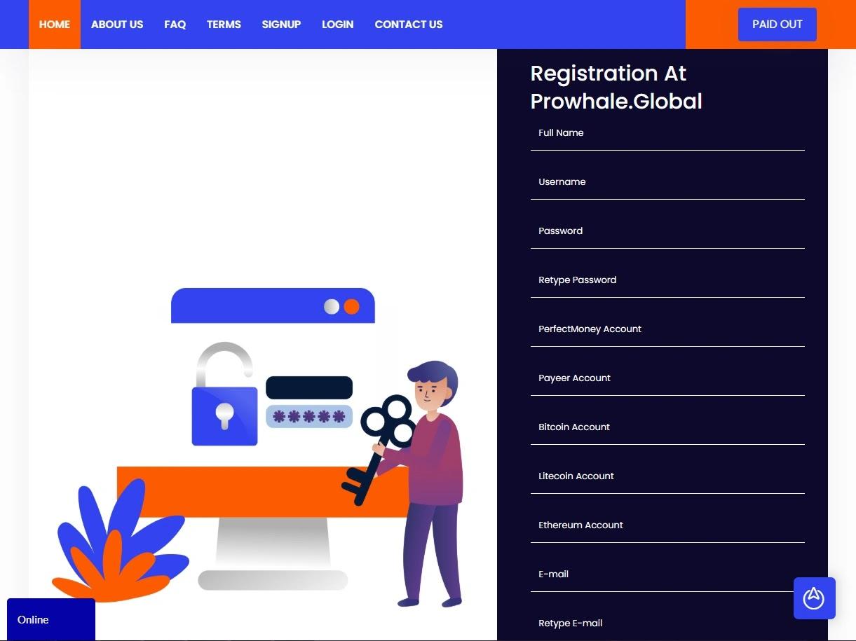 Регистрация в Prowhale Global 2