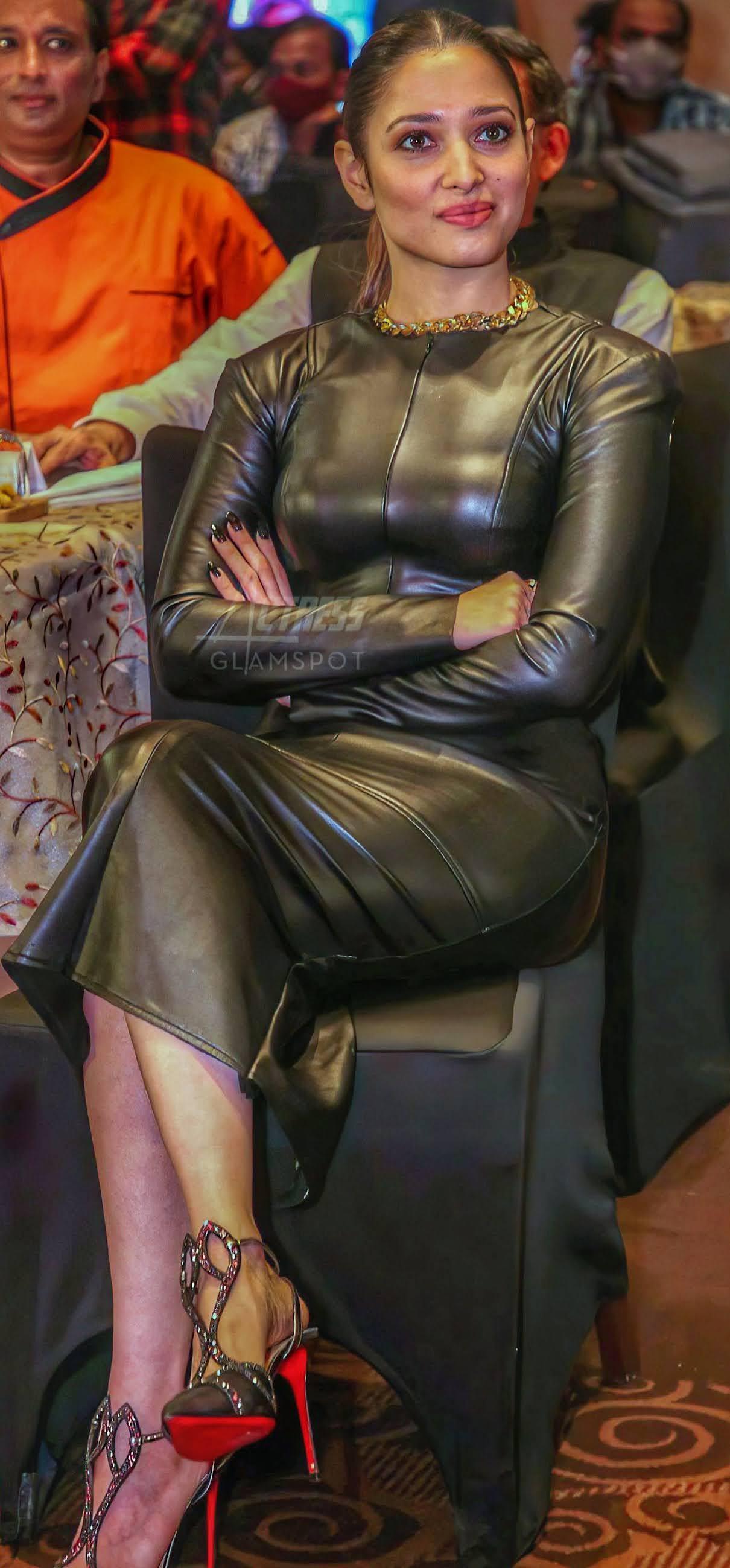 Milky Tamannaah Bhatia Hot Stills in Black Latex Dress Photos