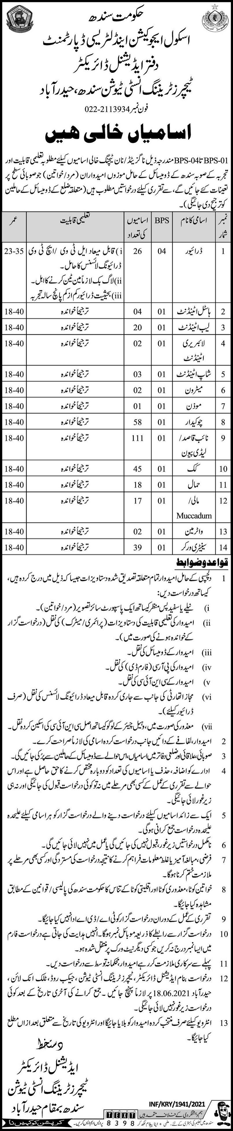 330 Posts Teachers Training Institute Sindh School Education And Literacy Department Hyderabad Jobs 2021