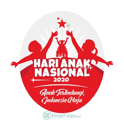 Hari Anak Nasional 2020 Logo Vector
