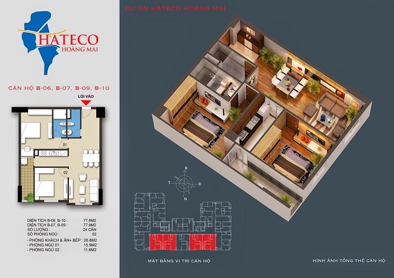 mặt bằng chung cư Hateco Hoàng Mai căn hộ B2409