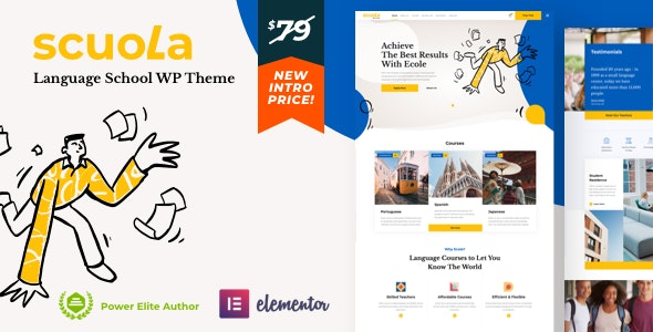 Scuola - Language School WordPress Elementor Theme Free Download, Nulled