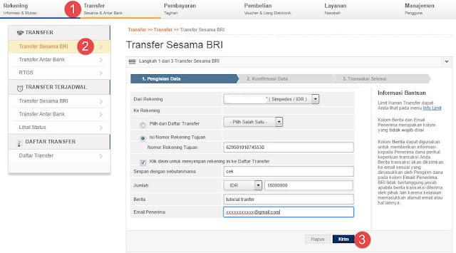 Cara Transfer Uang ke Sesama Bank BRI via Internet Banking