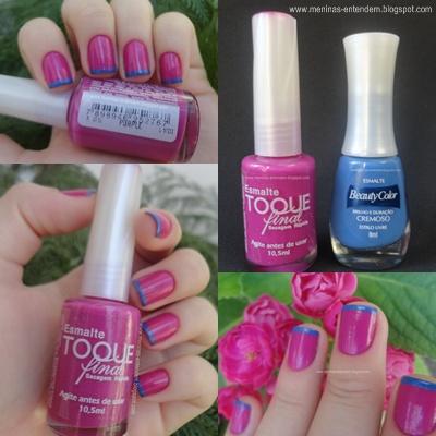 Inglesinha colorida rosa com a ponta azul