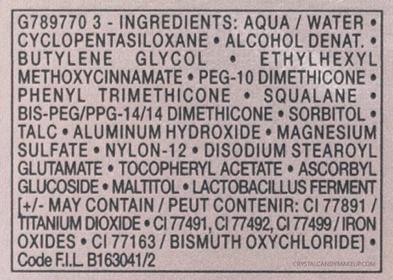 Vichy Teint Ideal Illuminating Fluid Foundation Ingredients