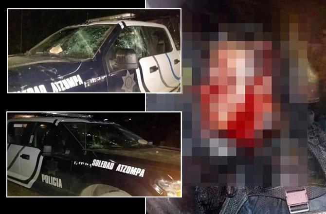 Pobladores de Ocotla y Ocotempa golpean a Policías que iban a detener a sujetos borrachos que habían chocado patrulla y una escuela
