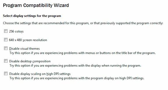 ويندوز- برنامج التوافق- المعالج- العرض