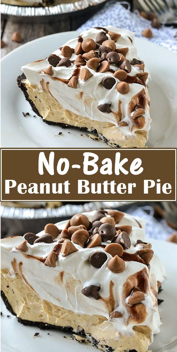 No-Bake Peanut Butter Pie  #dessertrecipes