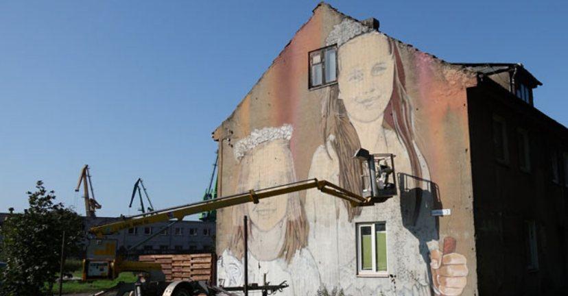 Рисунок на фасаде дома улица Gulbių 2