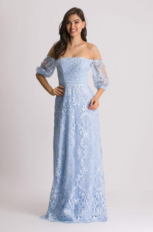 vestido longo azul serenity  de renda para madrinha de casamento