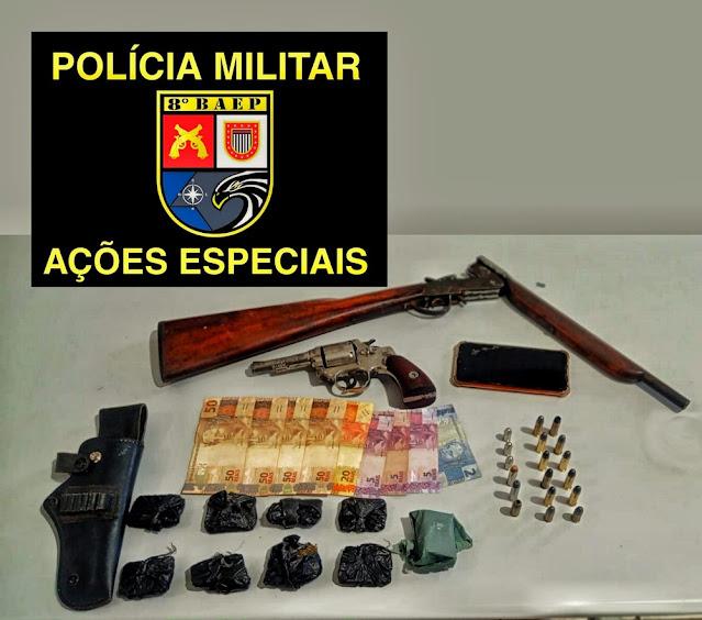 Polícia Militar prende dois homens por tráfico e posse ilegal de arma de fogo em Marabá Paulista