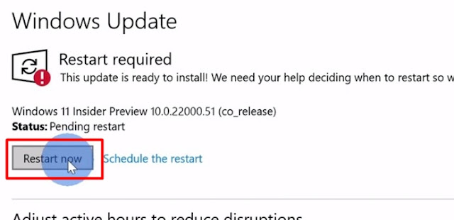 restart the pc to finish installing the windows 11 insider preview