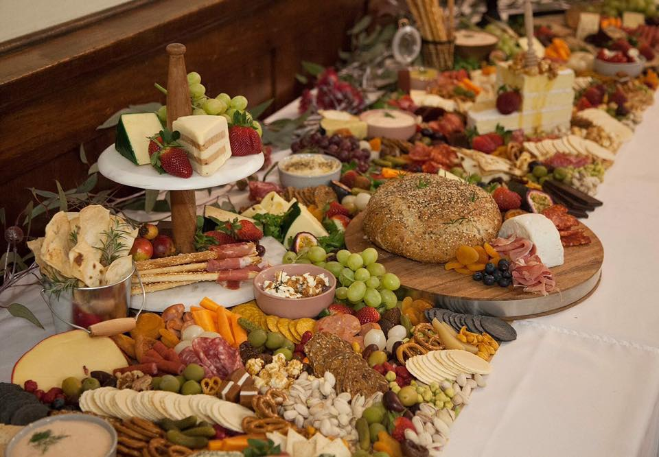 wedding catering grazing tables food