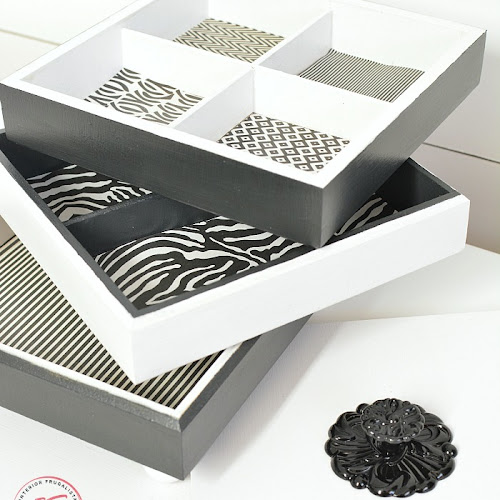 Upcycled Whimsical Black And White Stacking Keepsake Box