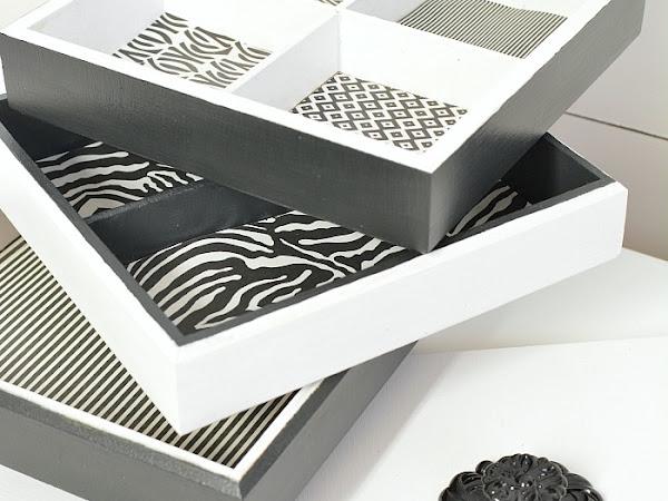 Upcycled Whimsical Black And White Stacking Keepsake Box