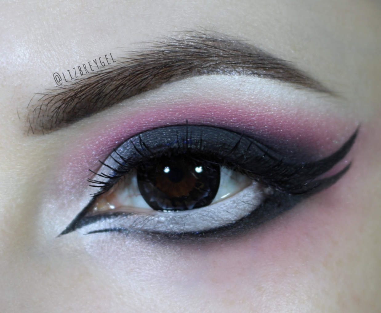 brown eye close up with dramatic Gothic makeup