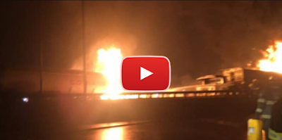 VIDEO: Petrol Tanker Goes Up In Flames On Kara Bridge In Lagos