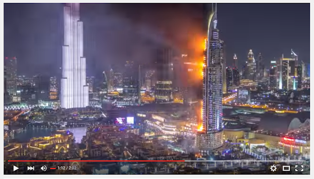 Flames on Dubai hotel on New year 2016