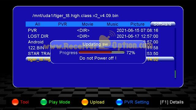 TIGER T8 HIGH CLASS V2 HD RECEIVER NEW SOFTWARE V4.09 15 JUNE 2021