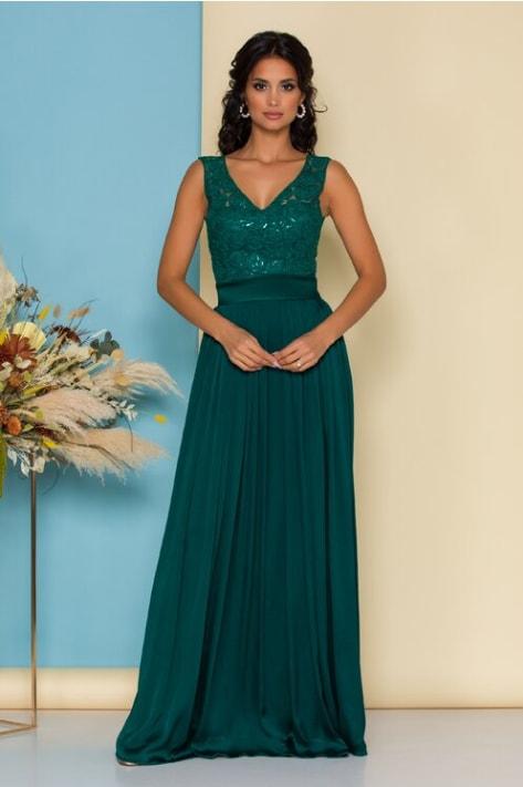 Rochie de ocazii verde smarald lunga cu broderie la bust