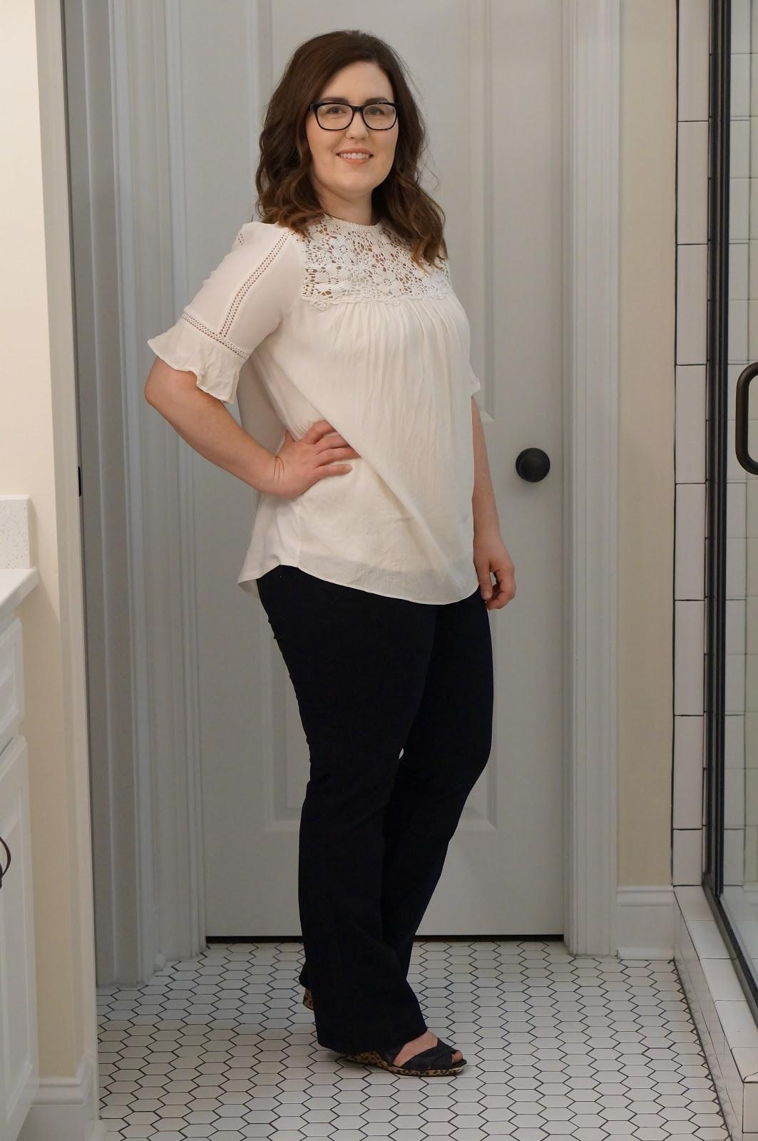 Rebecca Lately Transitional Fall Styles Loft Lace Yoke Top Old Navy Mid-Rise Khakis - FALL FASHION by North Carolina fashion blogger Rebecca Lately