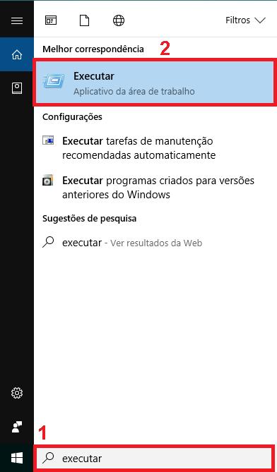 Executar. Botão WINDOWS + RIE