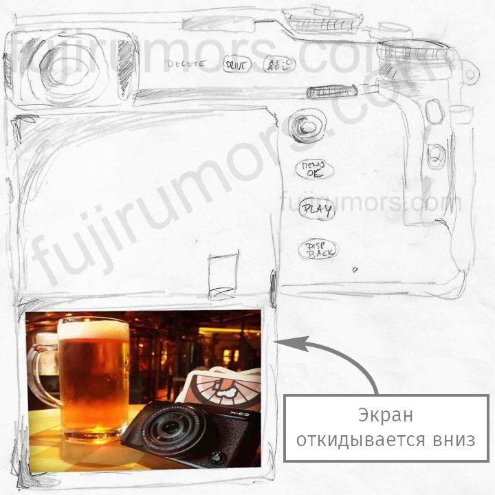 Схема откидного экрана Fujifilm X-Pro3