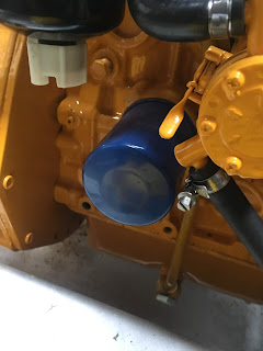 blue oil filter on a vetus engine on a sea otter narrowboat
