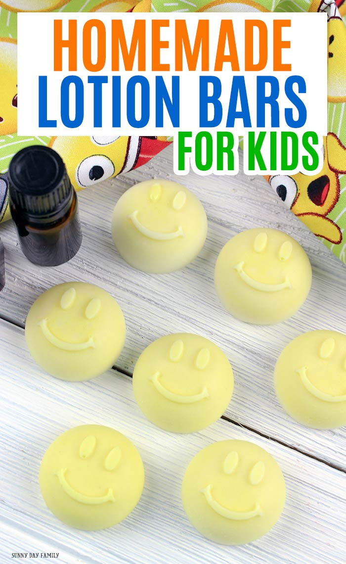 Homemade lotion bars made with kid safe essential oils are a must have for summer! These all natural, super easy DIY lotion bars are perfect for kids and great for summer! Made with calming essential oil blends, these lotion bars are perfect for after bath or pool time. Kids love them and they are so cute! Make a great gift too. #essentialoils #homemade #forkids #essentialoilsrecipes #lotionbars
