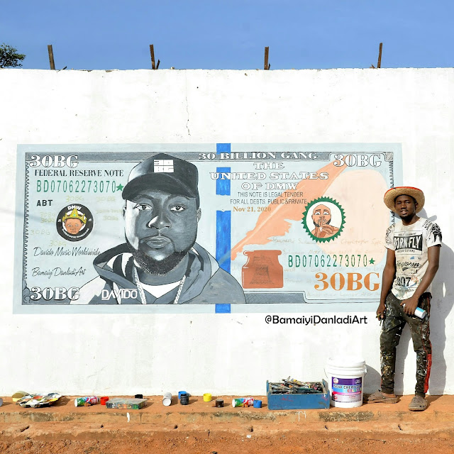 Check Out Davido's Reaction To Guy Who Spent Several Days Making A Street Portrait Of Him