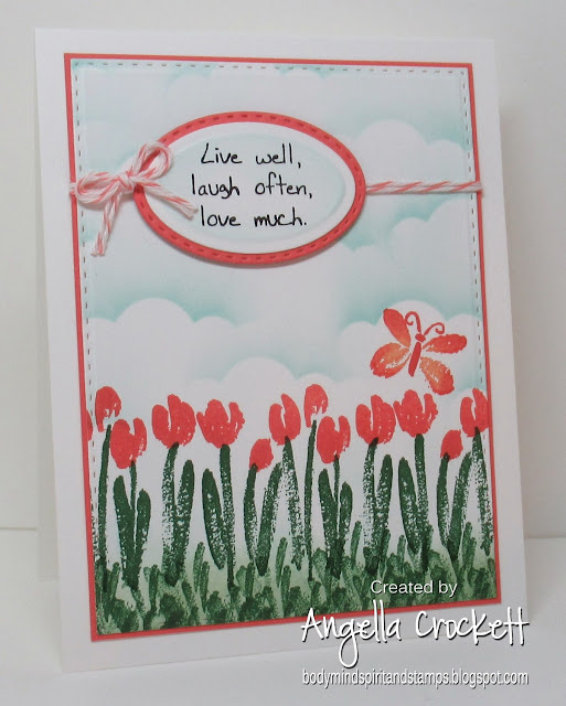 Stampin Up 'Spring Garden'; Divinity Designs LLC Custom Dies: Double Stitched Rectangles, Double Stitched Ovals, Ovals, Clouds and Raindrops; Card Designer Angie Crockett