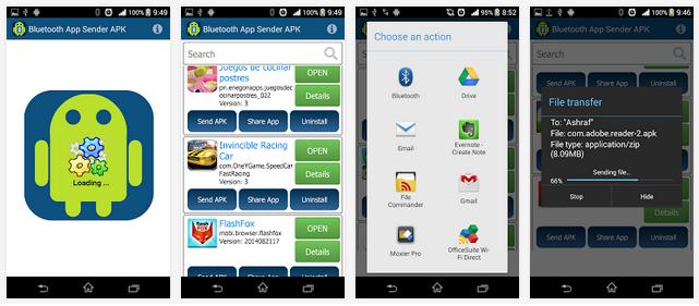 تطبيق مجاني لنقل التطبيقات المثبته من جهاز أندرويد لأخر بواسطة البلوتوث Bluetooth App Sender APK 4