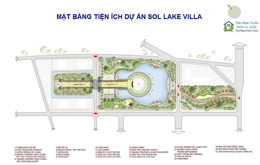 Hệ thống tiện ích quanh khu hồ cây đàn Sol Lake