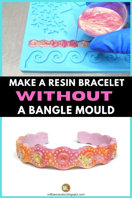 Pouring resin into a flat silicone mould and the finished demoulded bangle inspiration sheet